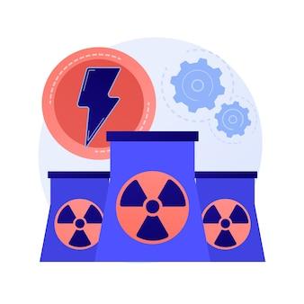 Planta de energía nuclear, reactores atómicos, producción de energía. fisión del átomo, proceso atómico. metáfora de generación de carga eléctrica nuclear