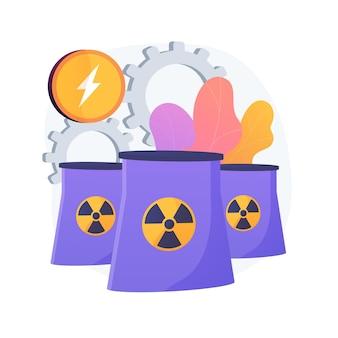 Planta de energía nuclear, reactores atómicos, producción de energía. fisión del átomo, proceso atómico. metáfora de generación de carga eléctrica nuclear.