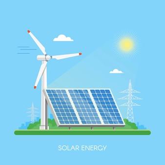 Planta de energía solar y fábrica. paneles solares. concepto industrial de energía verde.