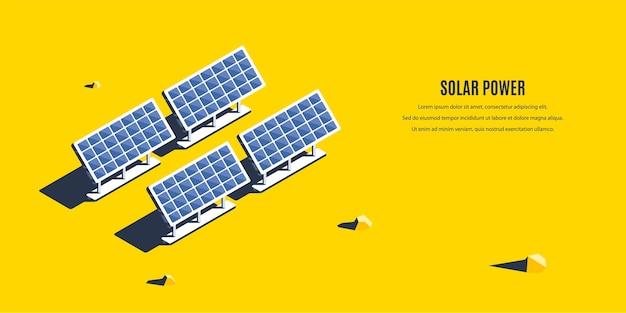 Planta de energía solar isométrica. concepto 3d de energía renovable