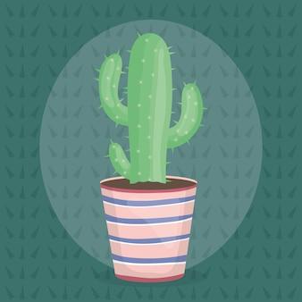 Planta exótica de cactus en maceta de cerámica.