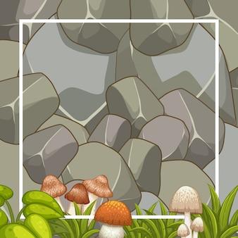 Planta y hongo y muro de piedra