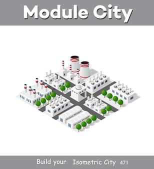 La planta isométrica en proyección dimensional 3d incluye fábricas, naves industriales, calderas, almacenes, hangares, centrales eléctricas, calles, carreteras, árboles. infraestructura urbana de la metrópoli de la ciudad.