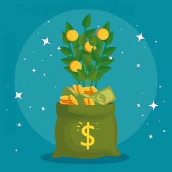 Planta de monedas en bolsa de dinero