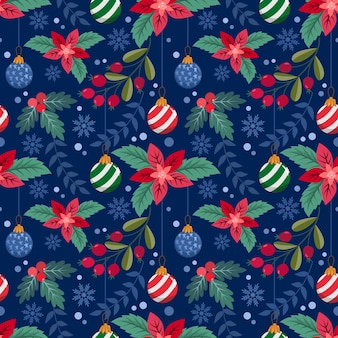 Planta de navidad y bola de navidad de patrones sin fisuras