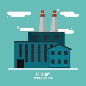 Planta nube edificio chimenea industria fábrica icono