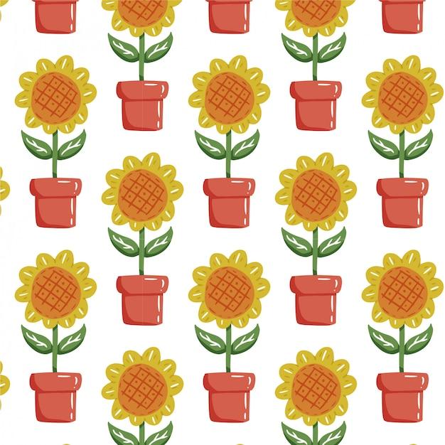 Planta de patrones sin fisuras con girasol dibujado a mano