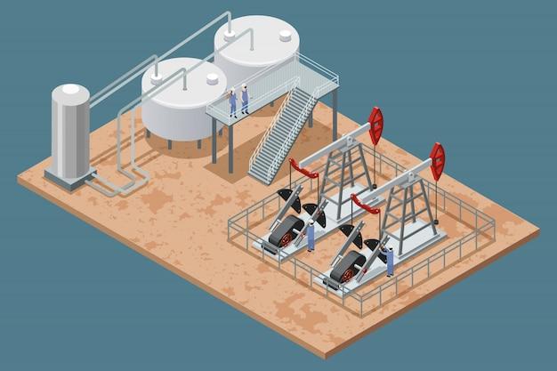 Planta de producción de petróleo y equipo de cartel isométrico.