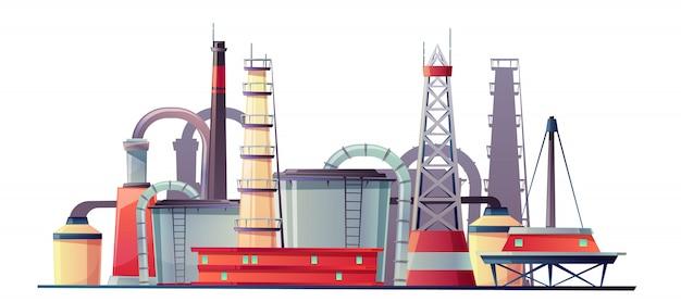 Planta de refinería de la industria del combustible.