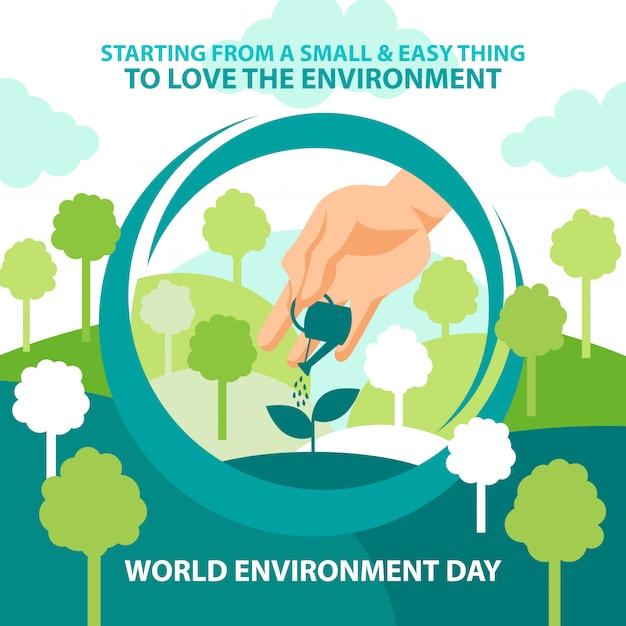 Planta de riego día mundial del medio ambiente