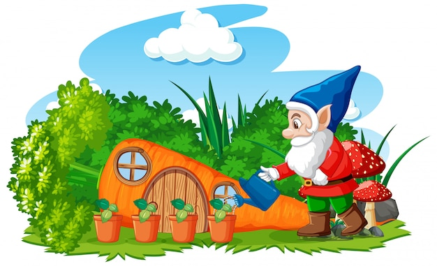 Planta de riego de gnomos con estilo de dibujos animados de casa de zanahoria sobre fondo blanco