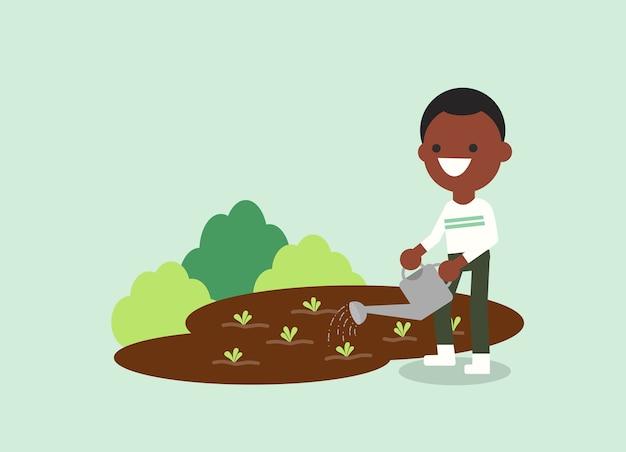 Planta de riego del joven afroamericano. ilustración de los trabajadores agrícolas. personaje.