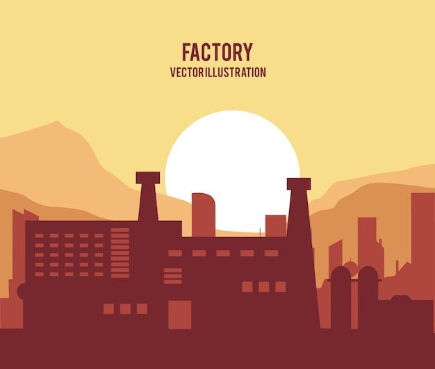 Planta sol silueta icono de fábrica de chimenea de paisaje