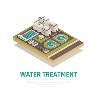 Planta de tratamiento de aguas residuales de limpieza composición isométrica con depósitos de sedimentación filtración separación instalaciones de purificación de oxidación