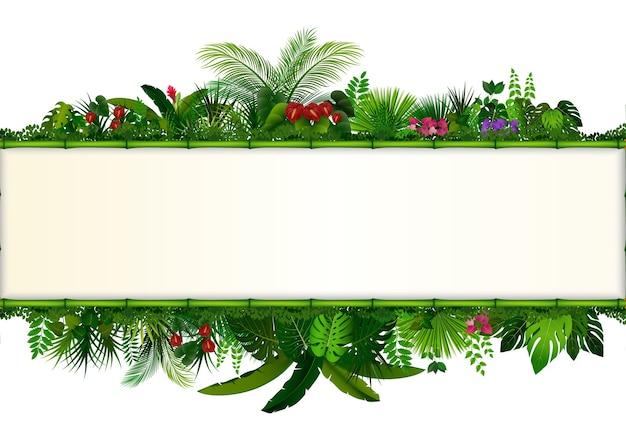 Planta tropical con la bandera de marco de bambú de rectángulo