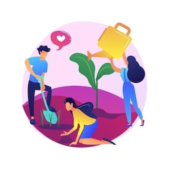Plantación de árboles. personajes de dibujos animados de activistas verdes que protegen la naturaleza. paisajismo, reforestación global. personas que restauran el hábitat forestal.