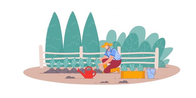 Plantación de verduras. jardinero hombre persona personaje de dibujos animados agricultura, jardinería y siembra de verduras en el jardín de la granja. concepto de agricultura y naturaleza