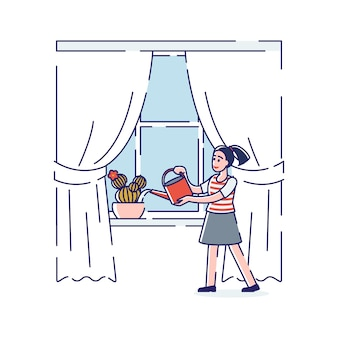 Plantas de agua de niña de dibujos animados en el alféizar de la ventana con regadera