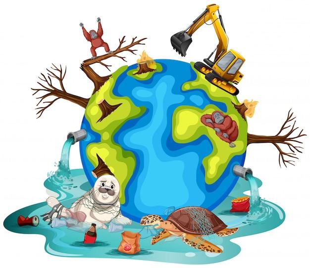Las plantas y los animales en la tierra se enferman
