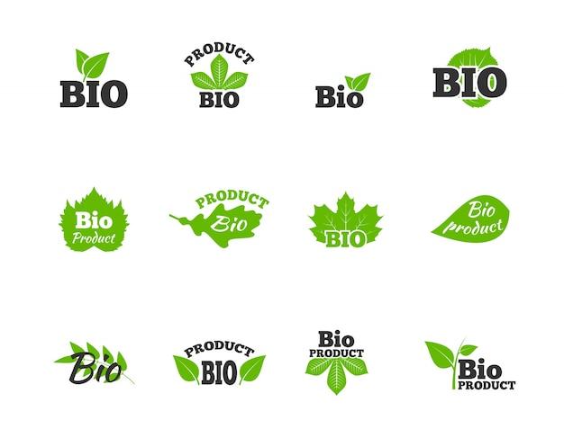 Plantas y árboles hojas verdes ecosfera natural bio productos etiquetas pictogramas colección plana resumen ilustración vectorial aislados