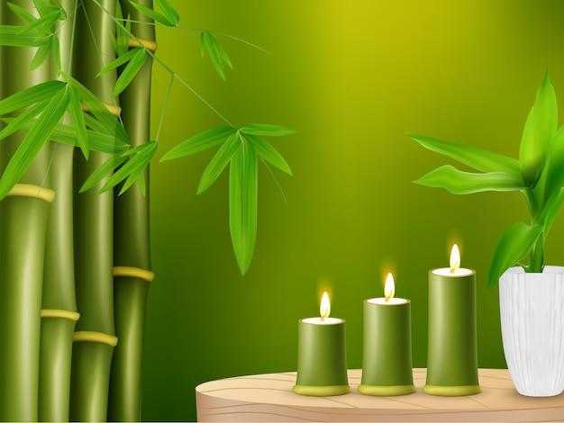 Plantas de bambú realistas con velas de bambú