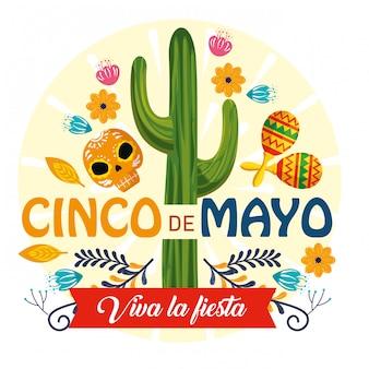 Plantas de cactus con decoración de maracas y calaveras para eventos