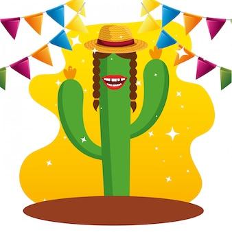 Plantas de cactus con sombrero y banner de fiesta