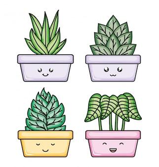 Plantas de la casa kawaii personajes cómicos.