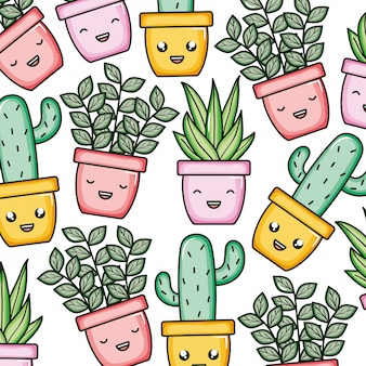 Plantas de casa y patrón de personajes de cactus kawaii.