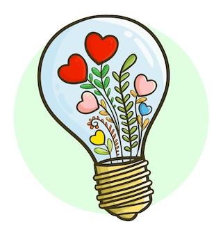 Plantas de corazón divertidas y coloridas en lámpara de bombilla en estilo kawaii doodle