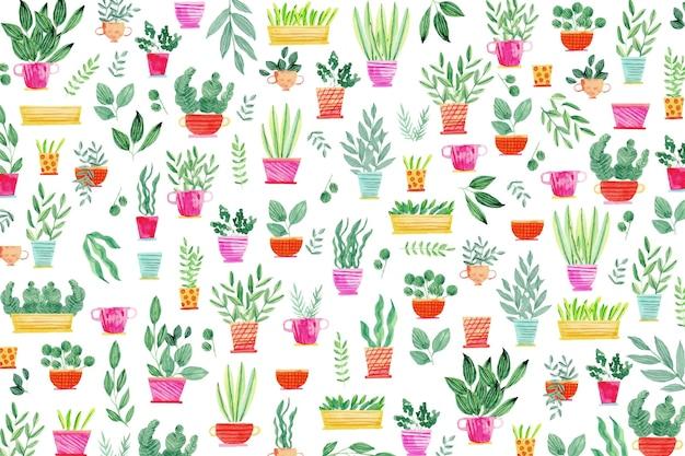 Plantas creativas en macetas de fondo