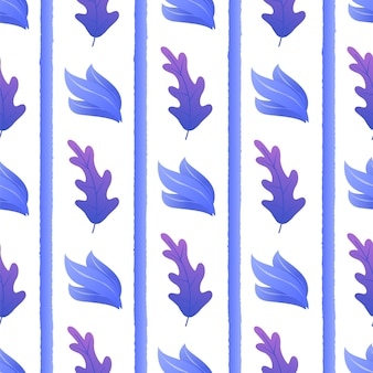 Plantas exóticas entre rayas de patrones sin fisuras