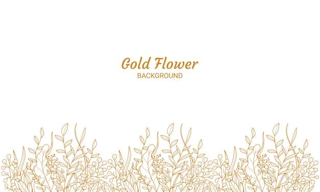 Plantas florales doradas elegantes con hojas fondo ilustración dibujado mano
