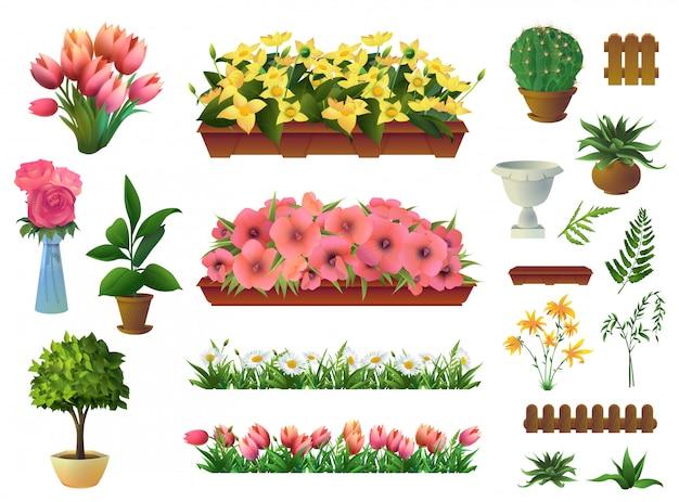 Plantas y flores, conjunto de elementos.