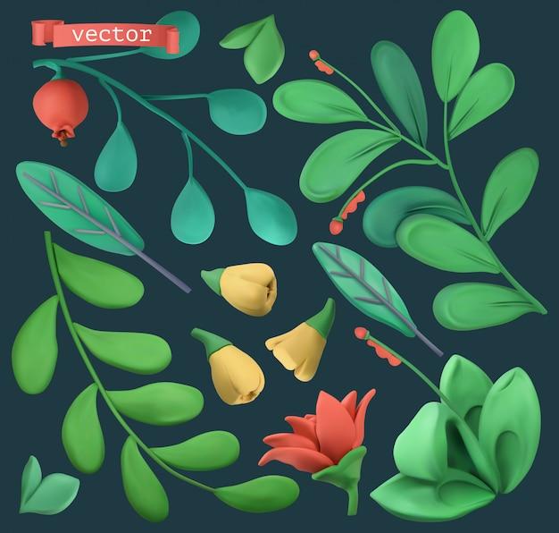 Plantas y flores. objetos de plastilina