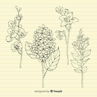 Plantas con hojas sobre papel retro