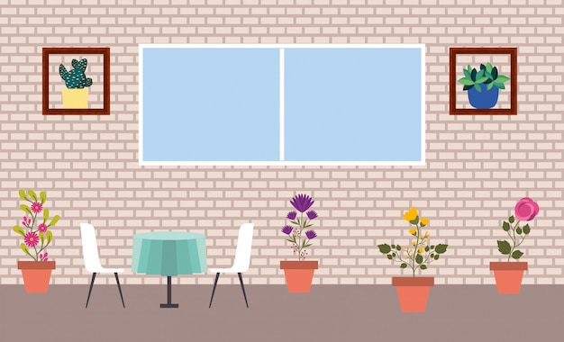 Plantas de interior aisladas dentro de macetas vector