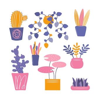 Plantas de interior decorativas interiores dibujadas a mano aisladas sobre fondo blanco. conjunto de flores, cactus y suculentas en una maceta para hermosas decoraciones naturales para el hogar. ilustración colorida plana