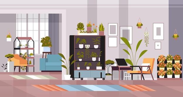 Plantas de invernadero flores en macetas en estantes concepto de jardín de casa sala de estar interior horizontal ilustración vectorial
