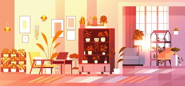 Plantas de invernadero con flores en macetas en estantes hogar jardín concepto salón interior horizontal