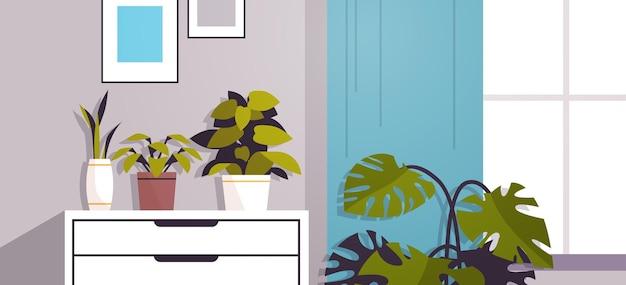Plantas de invernadero con flores en macetas en los estantes del jardín de su casa concepto closeup horizontal interior de la sala de estar