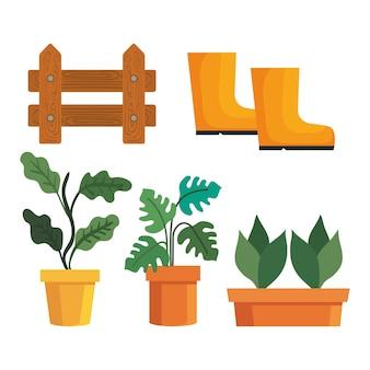 Plantas de jardinería en macetas, diseño de vallas y botas, plantación de jardines y tema de la naturaleza.