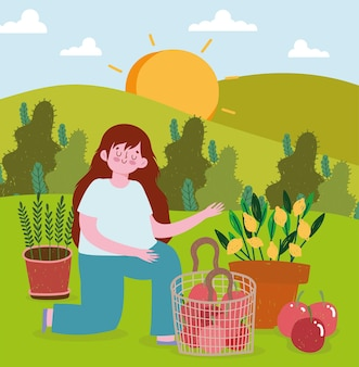 Plantas de jardinería de niña