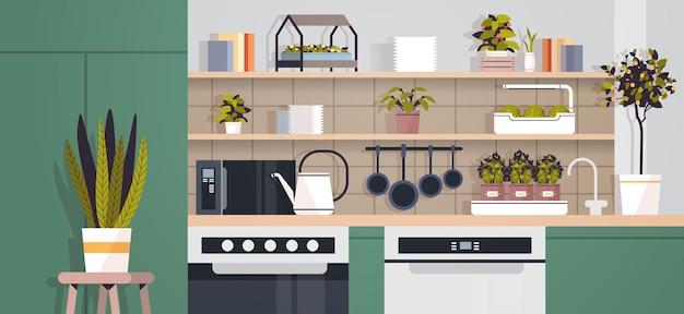 Plantas en macetas concepto de jardinería doméstica cocina moderna interior horizontal