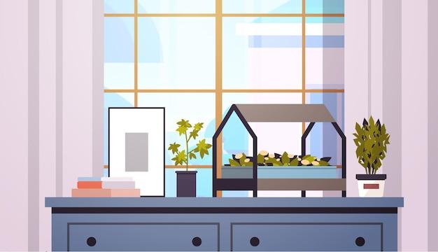 Plantas en macetas de invernadero en el estante concepto de jardinería doméstica sala de estar interior horizontal ilustración vectorial