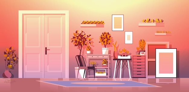 Plantas en macetas de invernadero en estantes concepto de jardinería sala de estar interior horizontal
