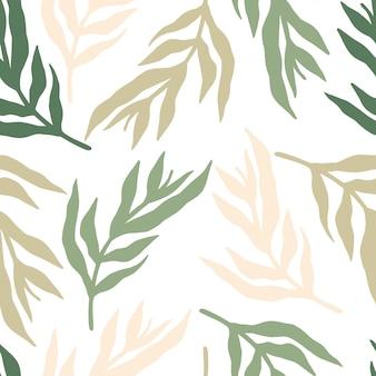 Las plantas de la selva deja patrones sin fisuras sobre fondo blanco. papel tapiz floral vintage.