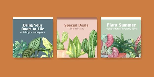Plantas de verano y plantas de interior anuncian diseño de plantilla para ilustración acuarela de publicidad