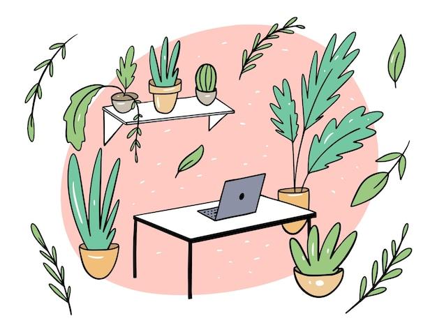 Plantas verdes en la ilustración plana de la oficina en estilo de dibujos animados. lugar de trabajo confortable. aislado sobre fondo blanco