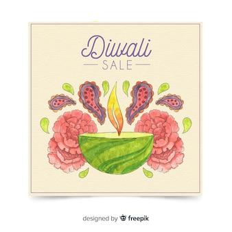 Plantiila adorable de folleto de rebajas de diwali en acuarela